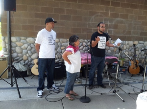 Ramon, democratically elected president of farmworkers' negotiating council (left) along with C2C's Rosalinda and Edgar,